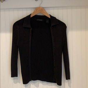 Express Black Ribbed Cardigan